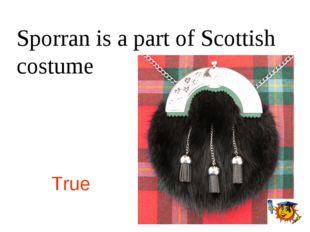 Sporran is a part of Scottish costume True