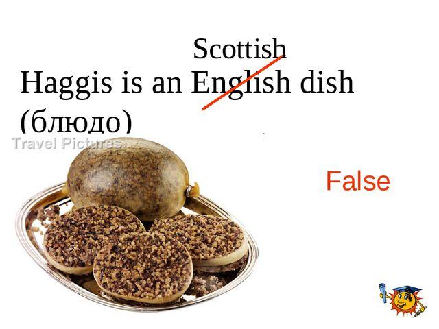 Haggis is an English dish (блюдо) False Scottish