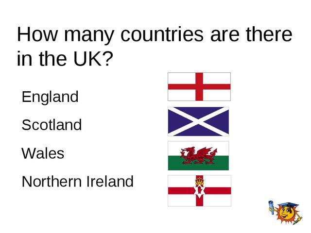 How many countries are there in the UK? England Scotland Wales Northern Ireland