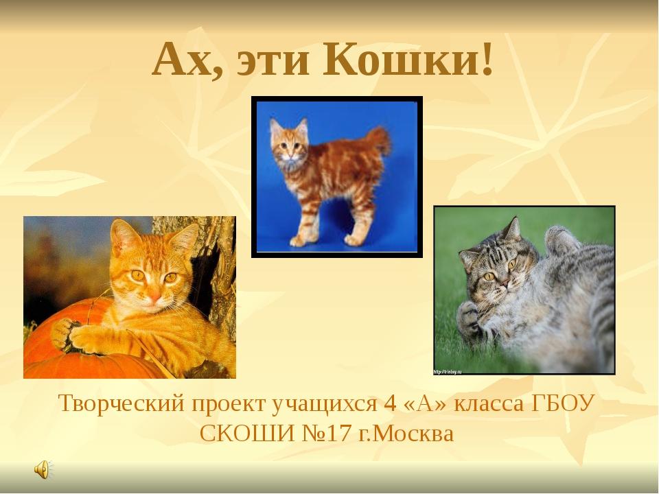 Ах, эти Кошки! Творческий проект учащихся 4 «А» класса ГБОУ СКОШИ №17 г.Москва