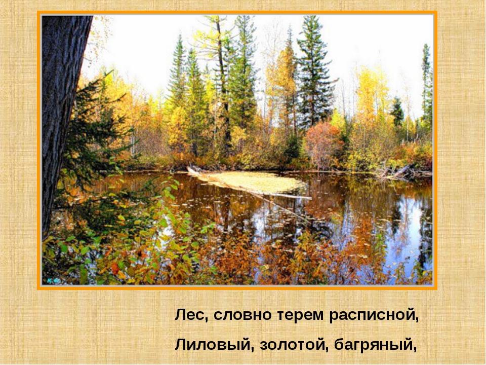Лес, словно терем расписной, Лиловый, золотой, багряный,