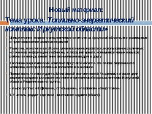 Новый материал: Тема урока: Топливно-энергетический комплекс Иркутской област
