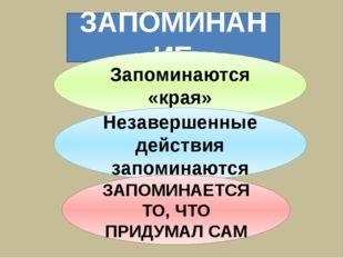 ЗАПОМИНАНИЕ Запоминаются «края» Незавершенные действия запоминаются ЗАПОМИНАЕ