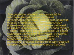 I Специалисты считают, что свыше 80 % заболеваний культурных растений обусло