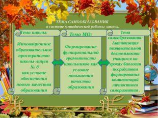 ТЕМА САМООБРАЗОВАНИЯ в системе методической работы школы. Тема школы: Инновац