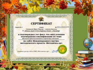 08011968253858 Синицыной Ирине Юрьевне – учителю биологии ГУ «Школы-лицей № 8