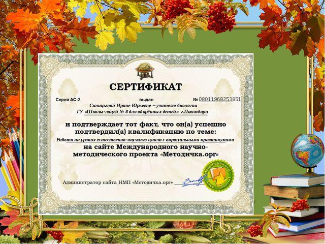 08011968253851 Синицыной Ирине Юрьевне – учителю биологии ГУ «Школы-лицей № 8...