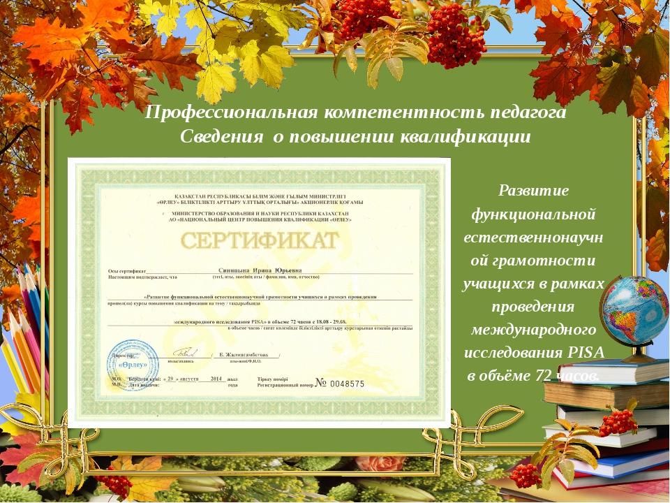 Профессиональная компетентность педагога Сведения о повышении квалификации Ра...