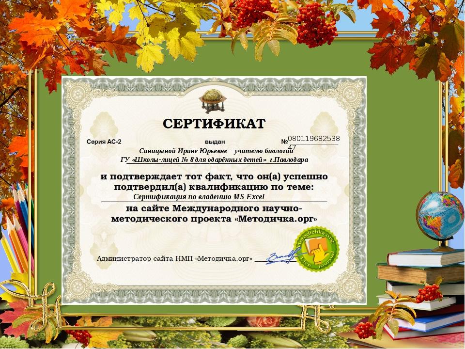 08011968253847 Синицыной Ирине Юрьевне – учителю биологии ГУ «Школы-лицей № 8...