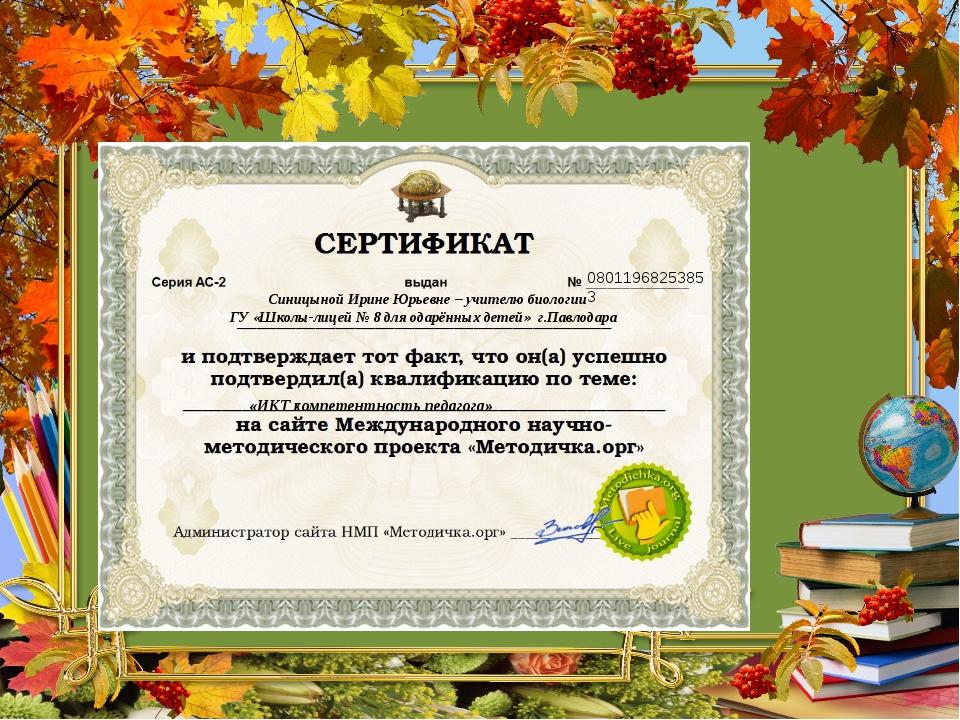 08011968253853 Синицыной Ирине Юрьевне – учителю биологии ГУ «Школы-лицей № 8...