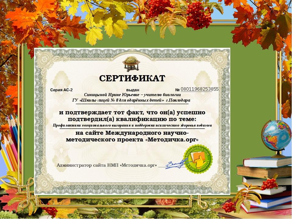 08011968253855 Синицыной Ирине Юрьевне – учителю биологии ГУ «Школы-лицей № 8...