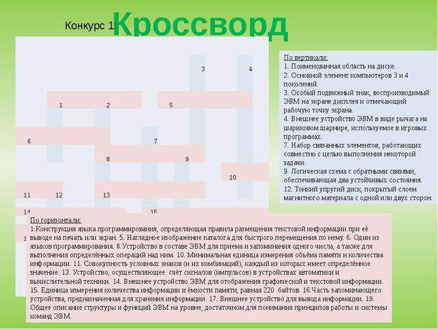 Кроссворд По горизонтали: 1.Конструкция языка программирования, определяющая...
