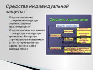 Средства защиты кожи 1.специальная изолирующая защитная 2.защитная фильтрующа