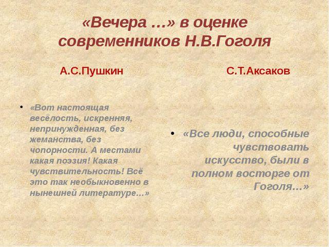 «Вечера …» в оценке современников Н.В.Гоголя А.С.Пушкин «Вот настоящая весёло...