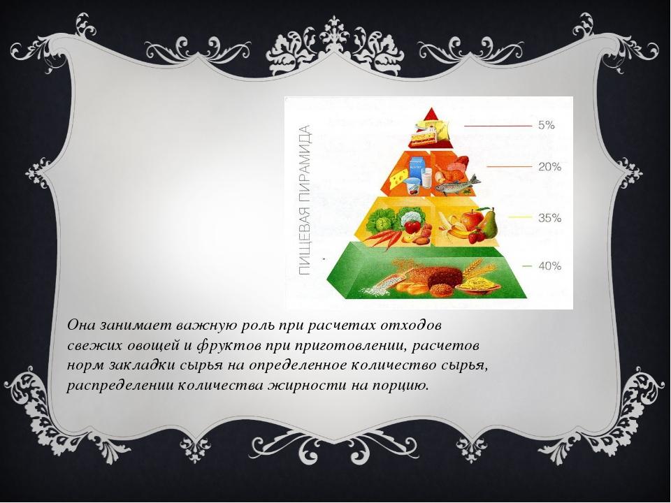 Она занимает важную роль при расчетах отходов свежих овощей и фруктов при при...