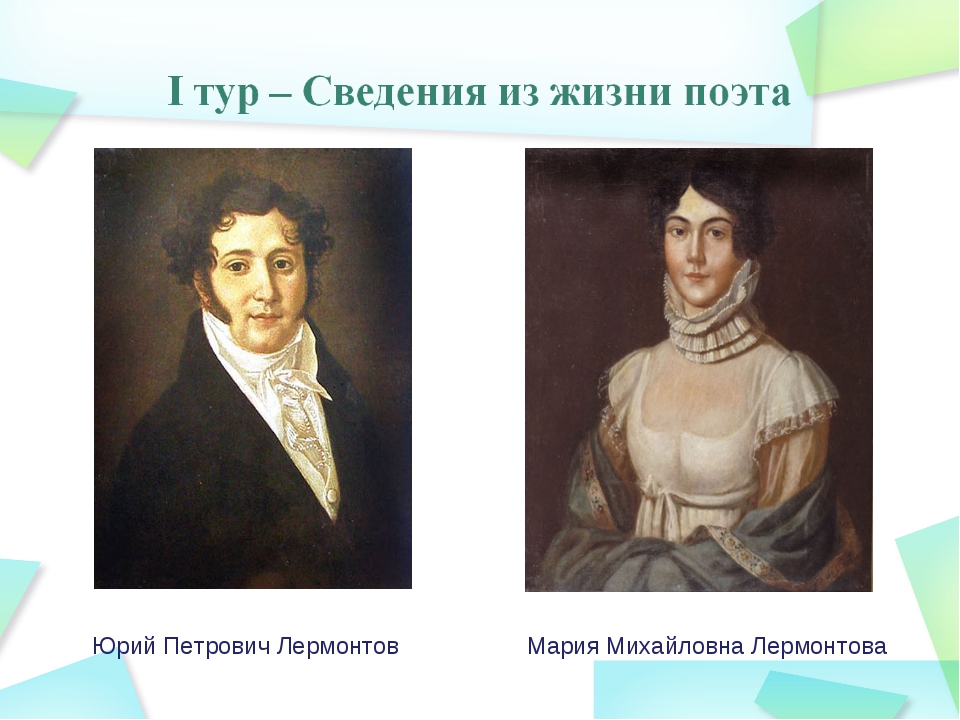 Юрий Петрович Лермонтов Мария Михайловна Лермонтова