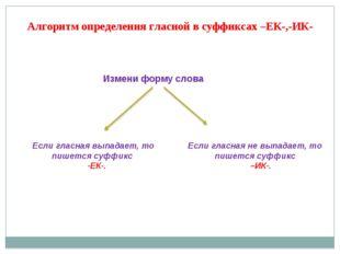 Алгоритм определения гласной в суффиксах –ЕК-,-ИК- Измени форму слова Если гл