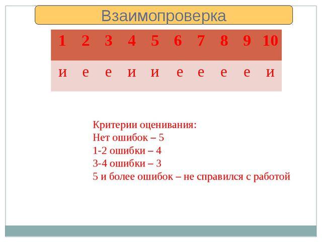 Критерии оценивания: Нет ошибок – 5 1-2 ошибки – 4 3-4 ошибки – 3 5 и более о...