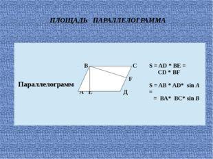 ПЛОЩАДЬ ПАРАЛЛЕЛОГРАММА Параллелограмм В С F АЕ Д S= AD * BE = CD * BF S= AB