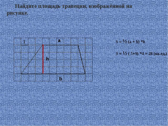Найдите площадь трапеции, изображённой на рисунке. S = ½ (a + b) *h a b h S =...