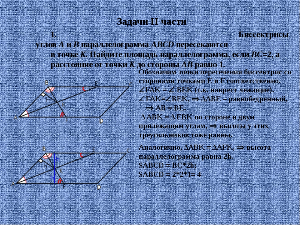 1. Биссектрисы угловAиBпараллелограммаABCDпересекаются в точкеK. Найди...