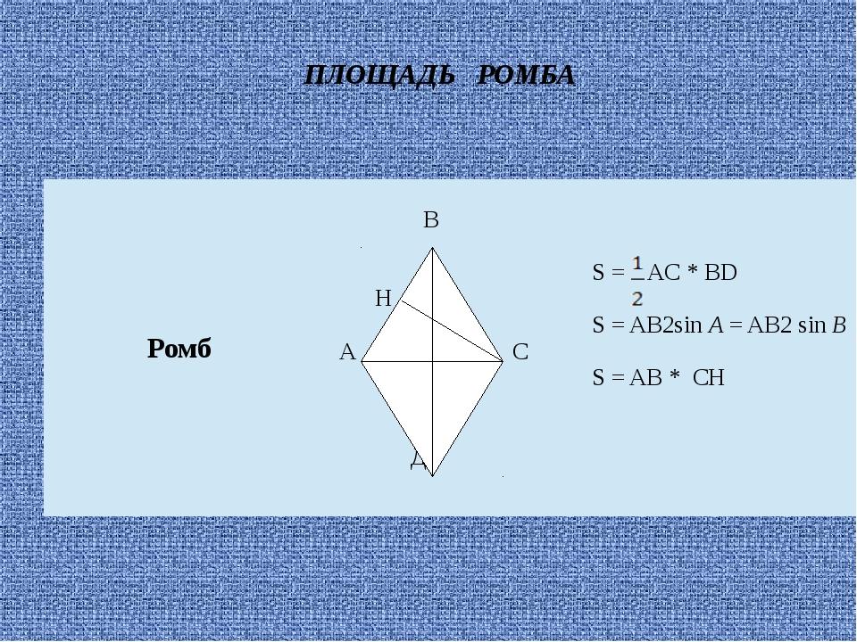 ПЛОЩАДЬ РОМБА Ромб В Н А С Д S=AC* BD S=AB2sinA= AB2sinB S= AB*СH