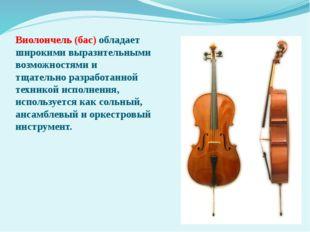 Виолончель (бас) обладает широкими выразительными возможностями и тщательно р