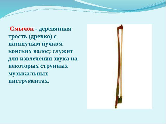 Смычок - деревянная трость (древко) с натянутым пучком конских волос; служит...