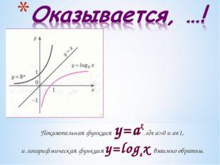 Показательная функция y=ax, где а>0 и а≠1, и логарифмическая функция y=logax