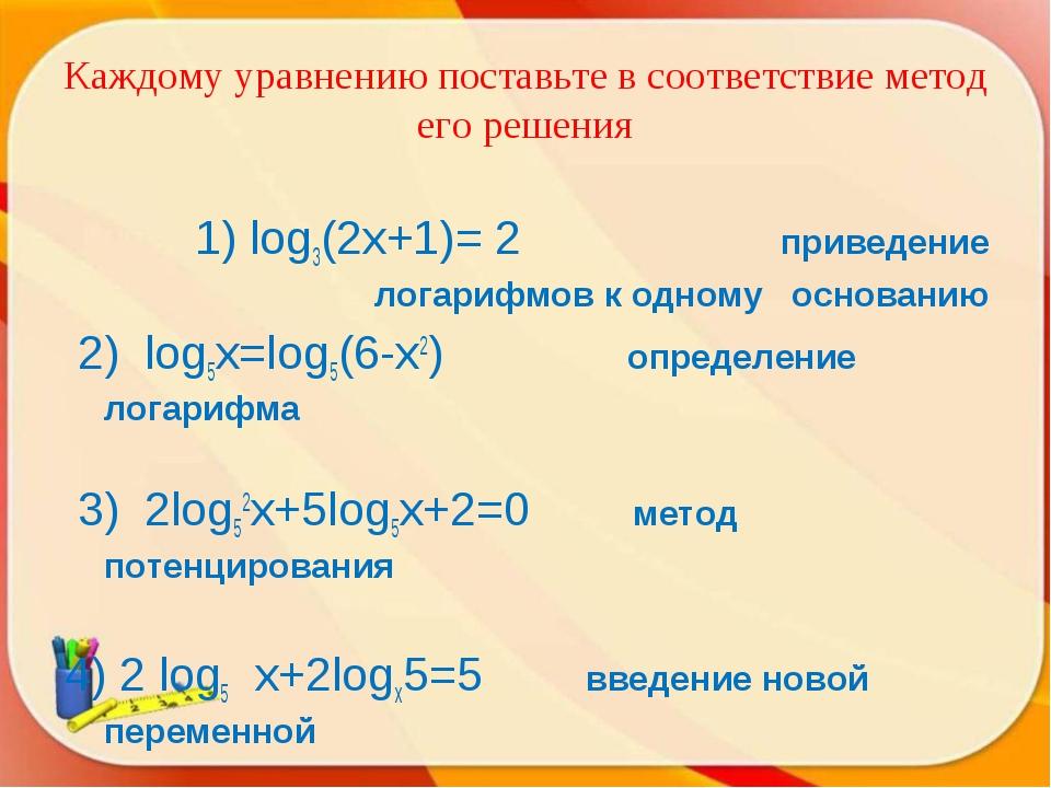 Каждому уравнению поставьте в соответствие метод его решения 1) log3(2x+1)= 2...