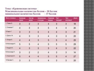 Тема: «Кровеносная система» Максимаиальное количество баллов – 30 баллов мини