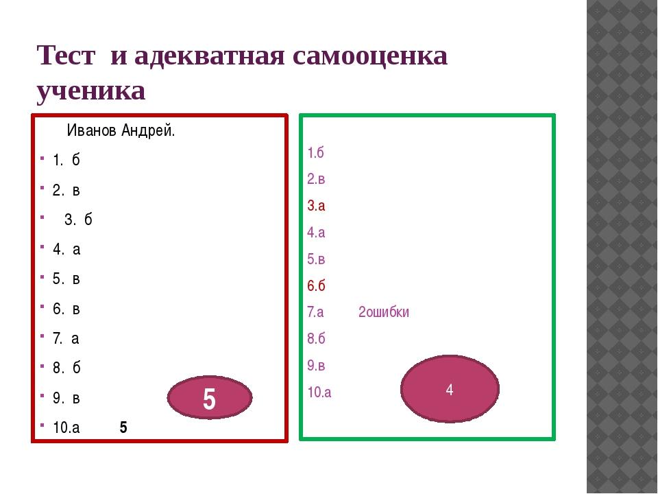 Тест и адекватная самооценка ученика Иванов Андрей. 1. б 2. в 3. б 4. а 5. в...
