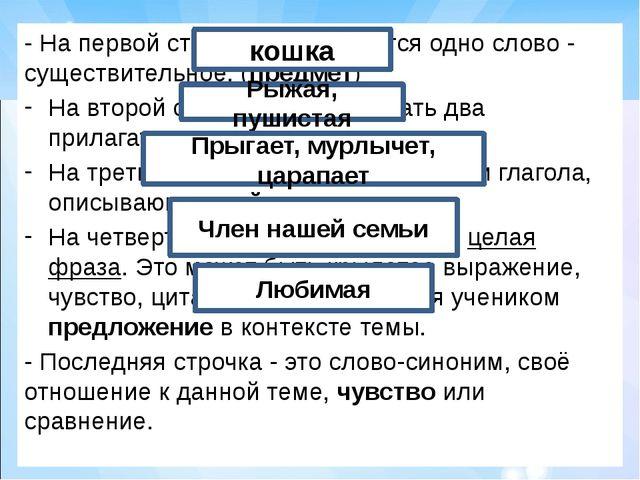- На первой строчке записывается одно слово - существительное. (предмет) На в...