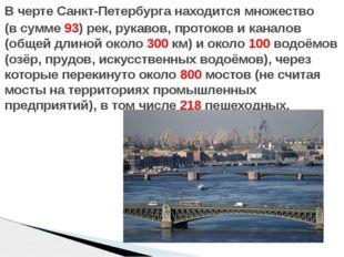 В черте Санкт-Петербурга находится множество (в сумме 93) рек, рукавов, прото