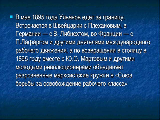 В мае 1895 года Ульянов едет за границу. Встречается в Швейцарии с Плехановым...