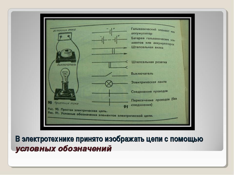 В электротехнике принято изображать цепи с помощью условных обозначений