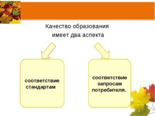 соответствие стандартам соответствие запросам потребителя. Качество образован