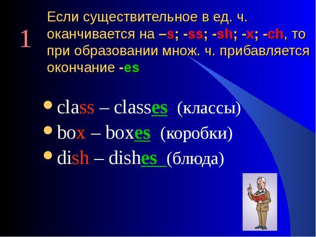 Если существительное в ед. ч. оканчивается на –s; -ss; -sh; -x; -ch, то при о...