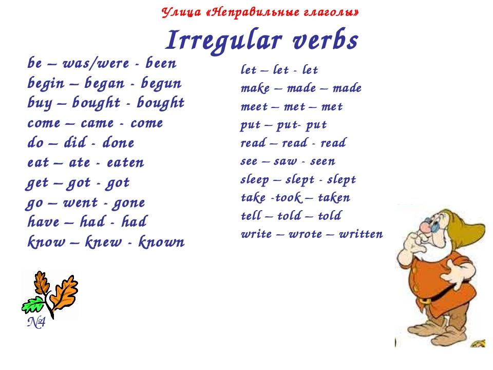 Улица «Неправильные глаголы» Irregular verbs be – was/were - been begin – be...