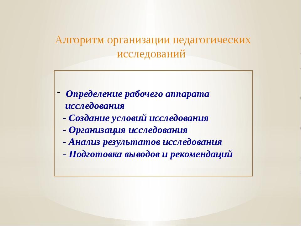 Алгоритм организации педагогических исследований Определение рабочего аппара...