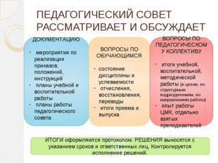 ПЕДАГОГИЧЕСКИЙ СОВЕТ РАССМАТРИВАЕТ И ОБСУЖДАЕТ ДОКУМЕНТАЦИЮ мероприятия по ре