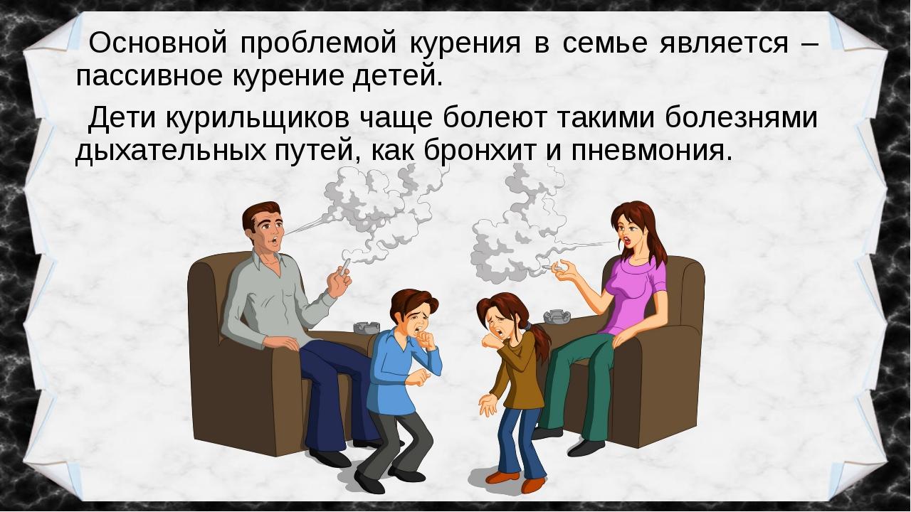 Основной проблемой курения в семье является – пассивное курение детей. Дети к...
