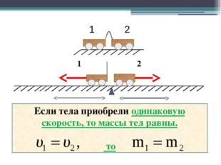 1 2 Если тела приобрели одинаковую скорость, то массы тел равны. то 1 2