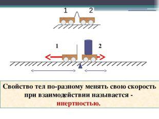 1 2 Свойство тел по-разному менять свою скорость при взаимодействии называетс