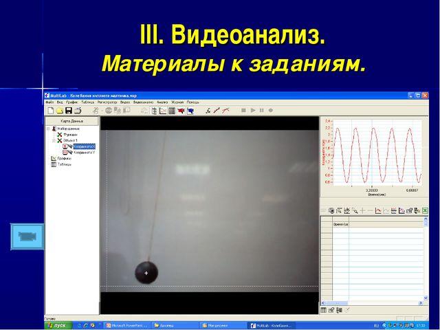 III. Видеоанализ. Материалы к заданиям.
