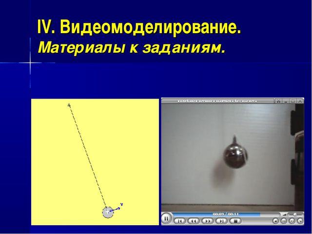 IV. Видеомоделирование. Материалы к заданиям.