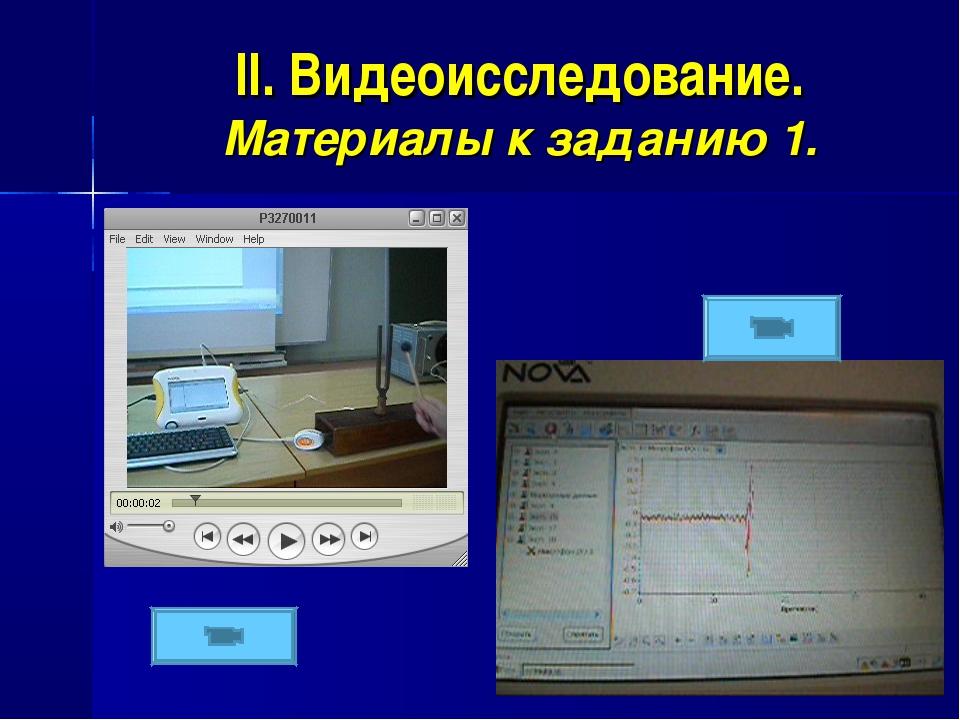 II. Видеоисследование. Материалы к заданию 1.