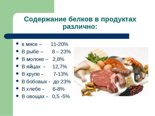 Содержание белков в продуктах различно: в мясе – 11-20% В рыбе – 8 – 23% В мо...
