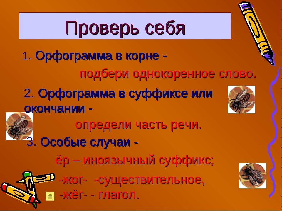 Проверь себя 1. Орфограмма в корне - подбери однокоренное слово. 2. Орфограмм...