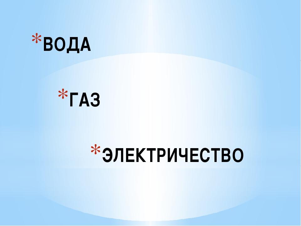 ВОДА ГАЗ ЭЛЕКТРИЧЕСТВО